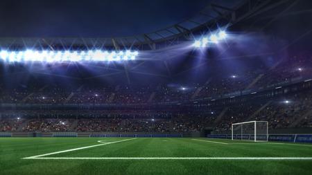 grand football stadium illuminated by spotlights and empty green grass field, football stadium sport theme digital 3D background advertisement illustration my own design Stockfoto