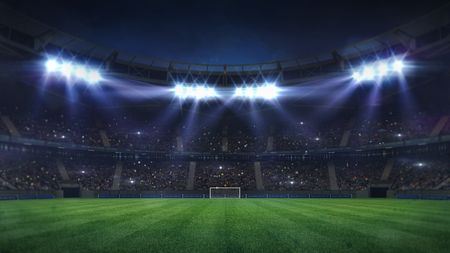 grand football stadium illuminated by spotlights and empty green grass playground, football stadium sport theme digital 3D background advertisement illustration my own design Stockfoto
