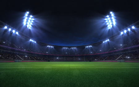 universal grass stadium illuminated by spotlights and empty green grass playground, grand sport building digital 3D background