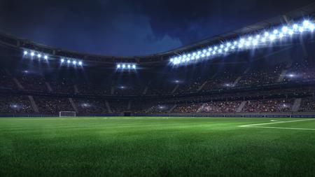 modern football stadium illuminated by floodlights and empty green grass, football stadium sport theme digital 3D background Stockfoto
