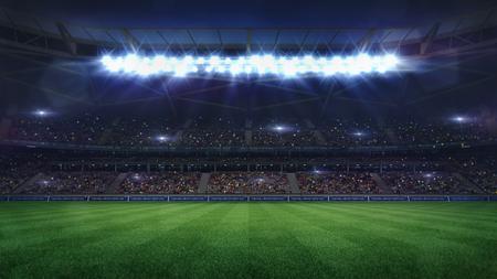 grand football stadium middle view illuminated by spotlights and empty green grass, football stadium sport theme digital 3D background