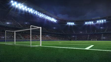 modern football stadium illuminated by spotlights and empty green grass, football stadium sport theme digital 3D background