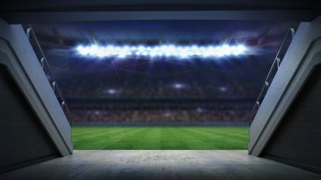 entrance to illuminated football stadium full of fans, football stadium sport theme digital 3D background