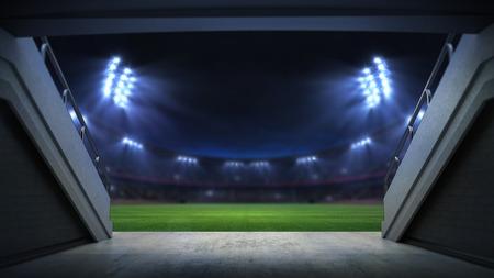 player entrance to illuminated stadium full of fans, football stadium sport theme digital 3D background