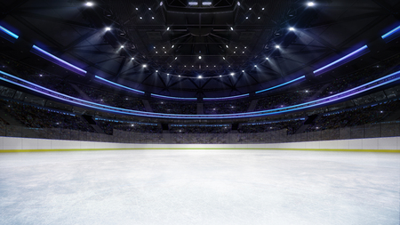 empty ice rink arena inside view illuminated by spotlights, hockey and skating stadium indoor 3D render illustration background, my own design Stok Fotoğraf