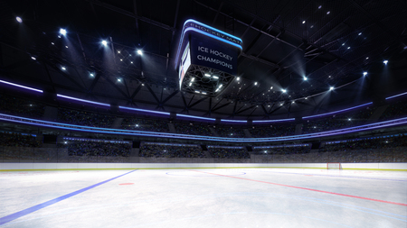 empty ice hockey arena indoor playground view illuminated by spotlights, hockey and skating stadium indoor 3D render illustration background, my own design