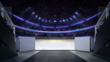 Hockey stadium ice rink entrance corridor with blurry background, indoor 3D render illustration Stok Fotoğraf