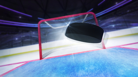 flying hockey puck goal score shot and blurred arena background, ice hockey stadium indoor 3D illustration background