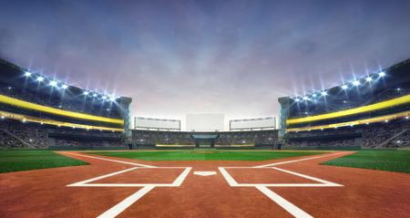 大棒球场球场钻石日光视图,现代公共体育建筑3D渲染背景