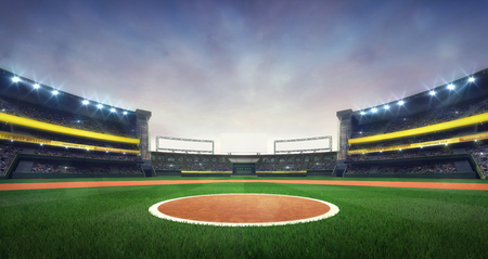 grand baseball stadium field spot daylight view, modern public sport building 3D render background Stockfoto