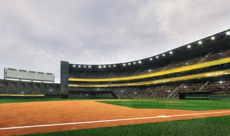 Modern baseball stadium playground field in cloudy daylight weather, public sport building 3D render background Stockfoto