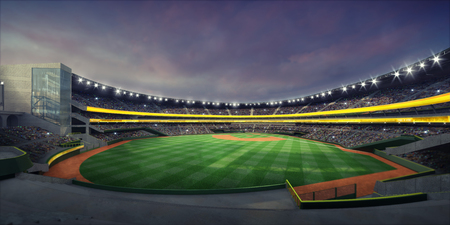 从正面看台的照明棒球场和草地操场的一般视图,现代公共体育照明建筑3D渲染背景