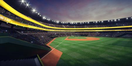 Grand baseball stadium from fan view on grandstand at nightfall, modern public sport illuminated building 3D render background