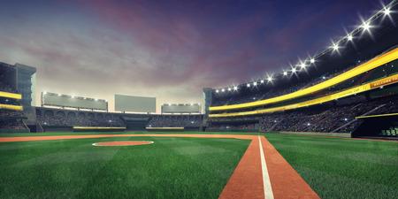 Grand baseball stadium playground infield nightfall view, modern public sport illuminated building 3D render background