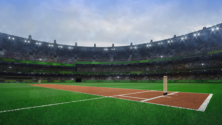Grand cricket stadium with wooden wickets diagonal view in daylight, modern public sport building 3D render series Stockfoto