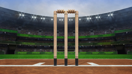 Grand cricket stadium with wooden wickets closeup in daylight, modern public sport building 3D render series