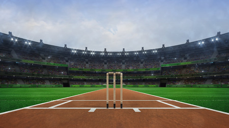 Grand cricket stadium with wooden wickets front view in daylight, modern public sport building 3D render series