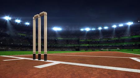 Illuminated round cricket stadium at night with wooden wickets closeup, modern public sport building background 3D render series