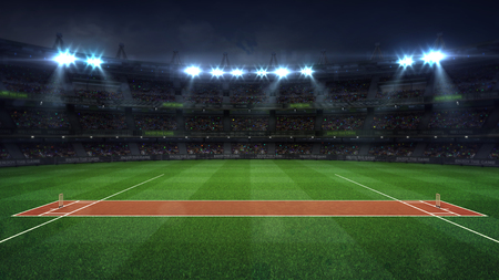 Illuminated round cricket stadium full of fans at night upper side view, modern public sport building background 3D render series