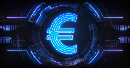 European Euro currency digital earnings as online electronic financial tool, technological business and financial system backgound illustration