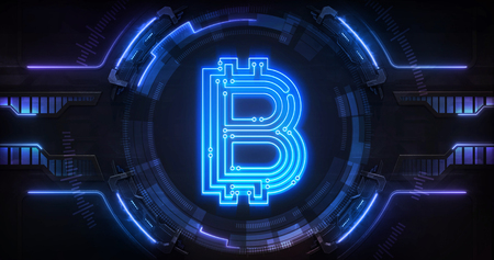 Bitcoin crypto currency digital earnings as online electronic financial tool, technological business and financial system backgound illustration Stockfoto