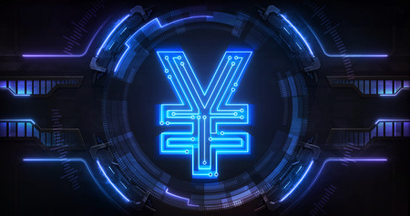 Asian Yen currency digital earnings as online electronic financial tool, technological business and financial system backgound illustration