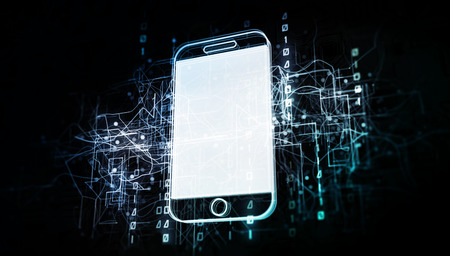 Cellphone device in virtual cyberspace network with binary code, virtual computer system net as 3d illustration white on dark Stockfoto