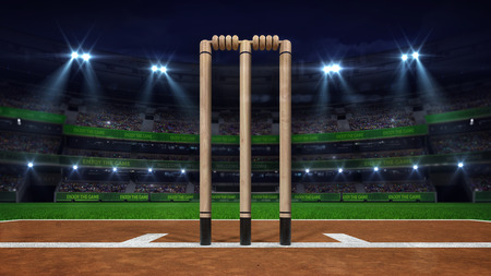 Night cricket field with wooden wicket front and stadium lights on, modern public sport building background 3D render series