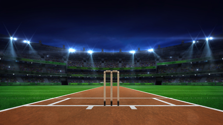 Night cricket field general view and stadium lights on, modern public sport building background 3D render series