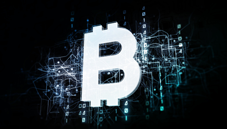 Bitcoin currency in virtual cyberspace network with binary code, virtual computer system net as 3d illustration white on dark