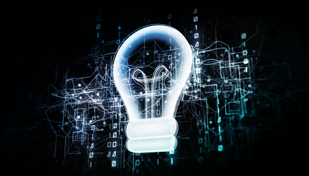 Innovative light bulb in virtual cyberspace network with binary code, virtual computer system net as 3d illustration white on dark Stockfoto - 124361118