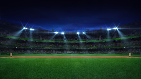 Night cricket field general side view and stadium lights on, modern public sport building background 3D render series Stockfoto - 124361122