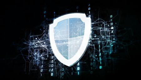 Escudo antiviral en la red del ciberespacio con código binario, red del sistema informático virtual como ilustración 3d en blanco sobre la oscuridad