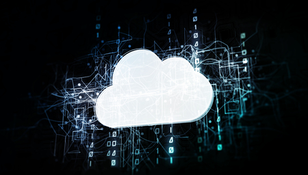 Cloud service in virtual cyberspace network with binary code, virtual computer system net as 3d illustration white on dark Stockfoto