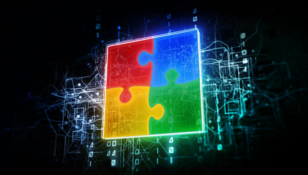 Puzzle teamwork in virtual cyberspace network with binary code, virtual computer system net as 3d illustration white on dark Stockfoto - 124361121