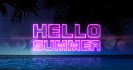 Hello summer neon title above ocean and tropical palm trees, summer holiday nightlife 3d background illustration Stockfoto