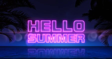 Hello summer neon title above ocean and tropical palm trees, summer holiday nightlife 3d background illustration Stockfoto - 125550569