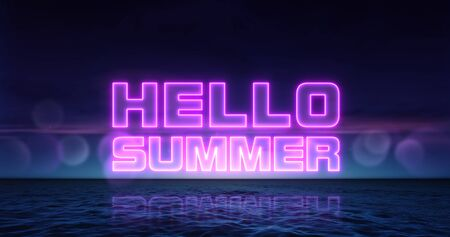 Hello summer neon title above ocean, summer holiday nightlife 3d background illustration Stockfoto - 125550572