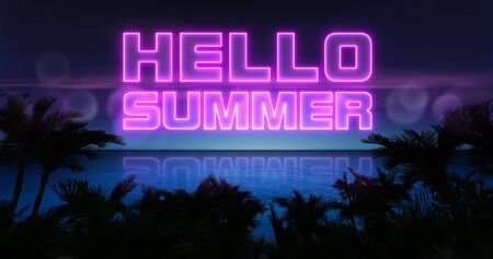 Hello summer neon title above ocean and tropical palm trees, summer holiday nightlife 3d background illustration Stockfoto - 125550573