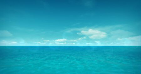 Calm clear turquoise sea with several white clouds on horizon, holiday background bright daylight 3D illustration Stockfoto