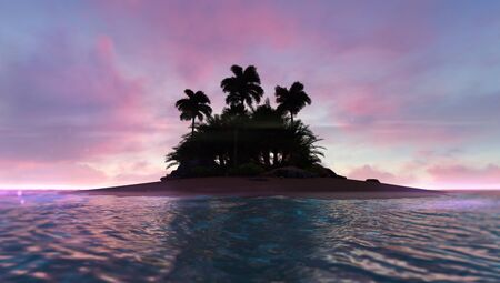 Romantic red dawn sky with abandoned tropical palm island in the middle, adventurous travelling tropical destination as 3D illustration background Stockfoto - 125550578