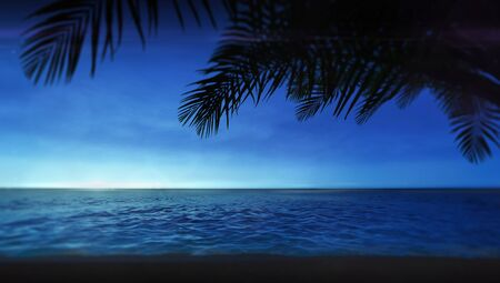 Blue sky sunrise or sunset view with tropical palm leaves on top, summer travel destination as 3D illustration copy space background Stockfoto - 125550584