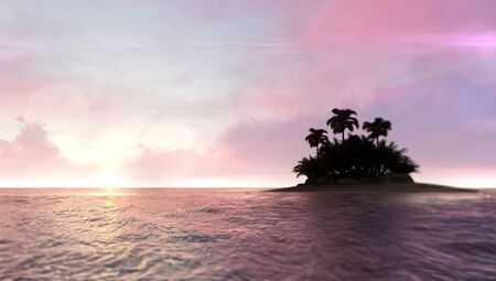 Romantic red dawn sky with abandoned tropical palm tree island on the right, adventurous travelling tropical destination as 3D illustration background