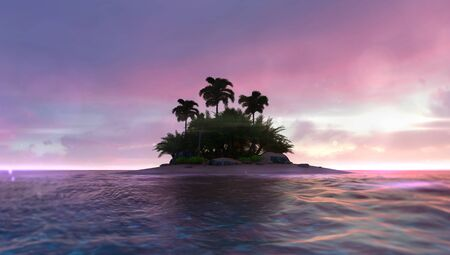 Romantic red dawn sky with abandoned tropical palm isle in the middle, adventurous travelling tropical destination as 3D illustration background Stockfoto - 125550595
