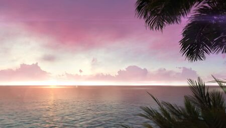 Romantic red dawn sky with tropical palm leaves on right side, adventurous travelling tropical destination as 3D illustration background Stockfoto - 125550596