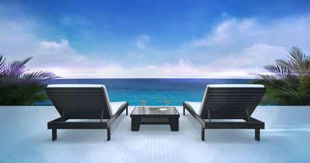 Two wooden loungers on terrace with ocean view and blue sky, holiday resort destination as 3D illustration background Stockfoto - 126487192