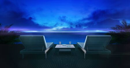 Two wooden loungers on terrace with ocean view and evening sky, holiday resort destination as 3D illustration background Stockfoto - 126487194