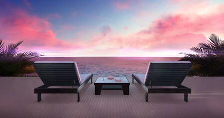 Two wooden loungers on terrace with ocean view and red sky, holiday resort destination as 3D illustration background Stockfoto - 126487195