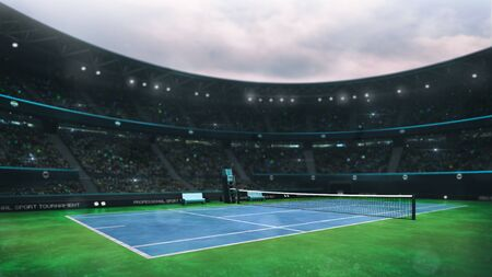 blue and green tennis court stadium with fans at daytime, side perspective view, professional tennis sport 3D illustration background