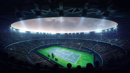 Illuminated blue tennis court stadium with fans at evening upper view, professional tennis sport 3D illustration background